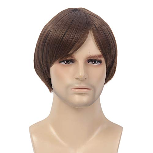 H&B WIG Men Wigs Short Straight Hairpiece Male Guy Daily Party Wear Hair Replacement Wig from H&B WIG
