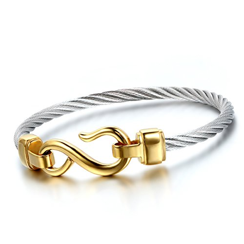 Cupimatch Womens Stainless Steel Infinity Symbol Stackable Cable Wire Twisted Cuff Bangle Bracelets Set (Gold) (David Yurman Id Bracelet)