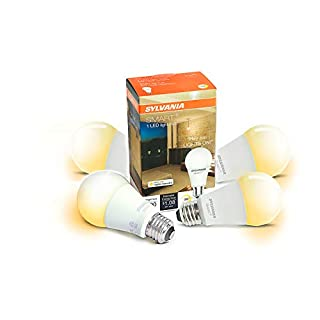 Sylvania 75579 Smart+ Bluetooth Apple HomeKit-Enabled Soft White Dimmable A19 LED Bulb, Works with Siri Voice Control, 60-Watt Equivalent, No Hub Required for Set Up, 4 Pack