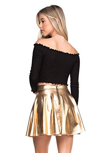 Women's J2 Love Faux Leather Back Gold Zip Mini Skater Skirt, X-Small, Rose - Goldx Mini