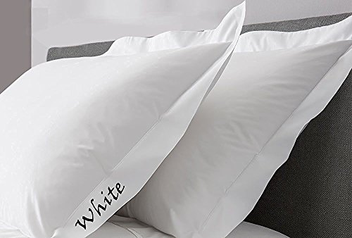 SCALABEDDING Scala Bedding White Solid 600TC Super Soft Pillow Sham (Set of 2) Single Ply Egyptian Cotton All US Size (King (20 x 40'' + 2'' Flange))