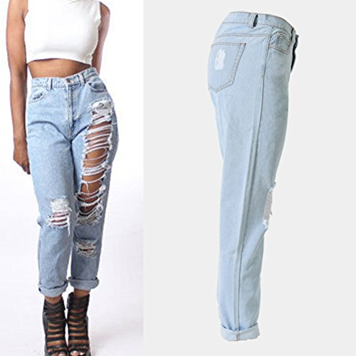 Zhhlinyuan Casual Skinny Denim Jeans Ripped Distressed High Waisted Pants Plus Hermoso para mujeres Blue