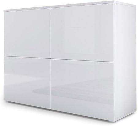 Cómoda moderna con 4 compartimentos detrás de 4 puertas,Cuerpo (Parte superior y laterales) en blanc