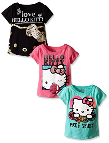 Hello Kitty Little Girls' Toddler Value Pack T-Shirts, Black/Rose/Green, 4T ()