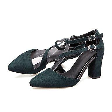LvYuan Mujer-Tacón Robusto-Otro-Sandalias-Oficina y Trabajo Vestido Informal-Vellón-Negro Rojo Gris Green