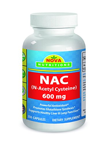 NAC Acetyl Cysteine 600mg, 250 Capsules by Nova Nutritions