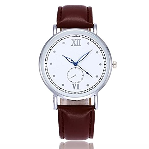 Watches, Forthery Luxury Fashion Dial Brown Leather Quartz Analog Wrist Watch (Geneva See Through Watch)
