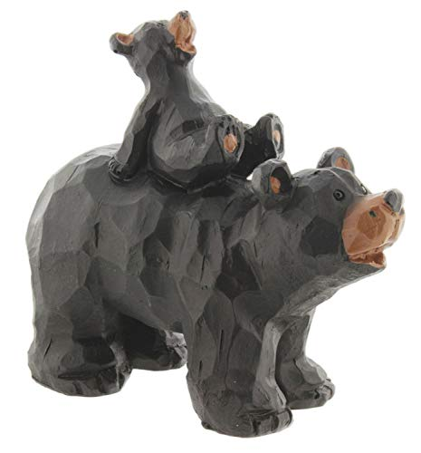 SLIFKA Resin Piggy Back Bear Cub Figurine Hand-Carved Wood Look