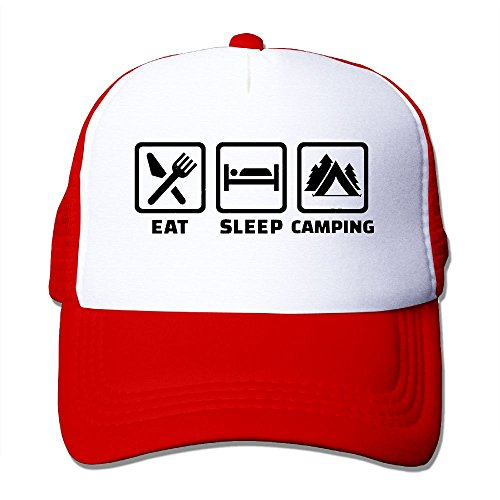 MOMAMU Eat Sleep Camping Summer Caps One Size Fit All Red (Party City In Asheville Nc)