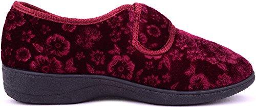 Pantofole Da Donna / Donna In Velluto / Velluto / Scarpe Da Interno Con Chiusura A Strappo