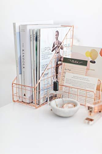 Blu Monaco Office Supplies Rose Gold Desk Accessories for Women - 4 Piece Wire Rose Gold Desk Organizer Set – Letter Sorter, Paper Tray, Pen Cup, Magazine File - Stationery Décor by Blu Monaco (Image #4)