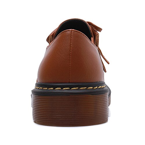Smilun Girl¡¯s Derby Classic Lace-up Shoes Smooth Leather Flats Smooth Leather Office Business Dress Shoes for Girl Brown Size 6 B(M) US by Smilun (Image #4)