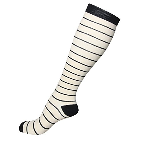 HLTPRO Graduated Compression Socks Women & Men 20-30 mmHg - Moderate Compression Stockings Running, Crossfit, Travel- Suits, Nurse, Maternity Pregnancy, Shin Splints (S/M, Cream Black Stripe)