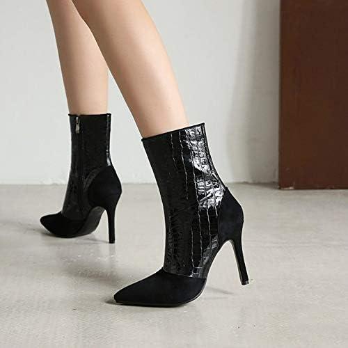 NA Gel Nail Stiefeletten Frauen, Damen Lederstiefeletten, Spitze Stiletto High Heels Damen Kurze Stiefel,Schwarz,45