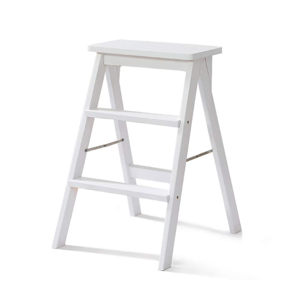 XITER 3 Step Ladder Stool Solid Wood-Household Ladder Chair Simple Modern Portable Folding Ladder Stool Kitchen High Stool Bench ladders (Color : White) by XITER-Step StooL