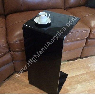 C Table BLACK Acrylic Lucite Plexiglass END SIDE TABLE 26u0026quot; High Couch  Laptop Wine