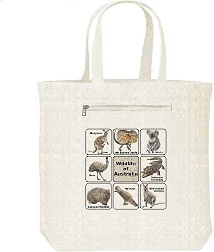 エムワイディエス(MYDS) オーストラリアの野生動物/キャンバス トートバッグ・ファスナー ポケット付