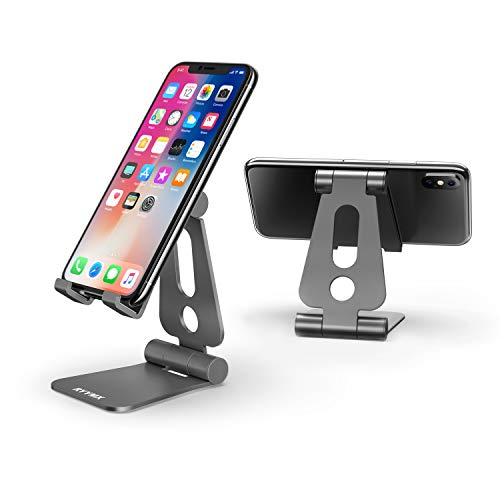 Cell Phone Stand for Desk - RYYMX Phone Holder for Desk Adjustable : Desk Phone Stand Compatible with iPhone Xs Max Xr X 8 7 6 6s Plus SE 5s, All Android Smartphone, Switch, Kindle Accessories - Gray