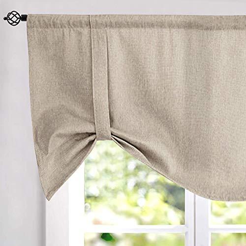 Tie up Valances for Windows Linen Textured Room Darkening Adjustable Tie Up Shade Window Curtain Rod Pocket Tie up Valance Curtains 18 Inches Long 1 Panel Greyish Beige