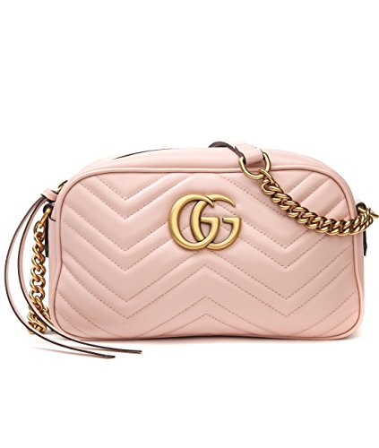 Wiberlux Gucci Women's Logo Detail Chevron Quilted Crossbody Bag One Size Pink