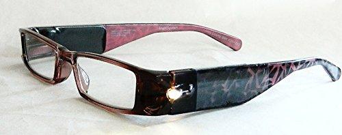 (+ BONUS) Foster Grant Lightspecs +2.00 Magnification Glasses with Mauve Tortoise Plastic Frames (178)