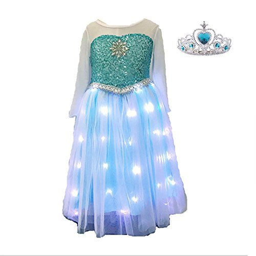 (SHINYOU Girls Princess Dress Frozen Costume Elsa Dresses for Halloween,Disney Cosplay(7~8Y))