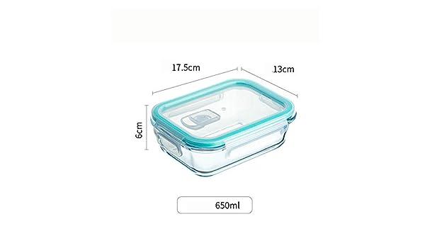 B/H Recipientes Cristal Alimentos,Lonchera de Vidrio Transparente Caja de Almuerzo para Estudiantes con Tapa-J,Hermético de Rectangular: Amazon.es: Hogar