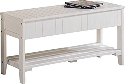 Excellent Amazon Com Storage Bench With Flip Top And Shelves Solid Caraccident5 Cool Chair Designs And Ideas Caraccident5Info