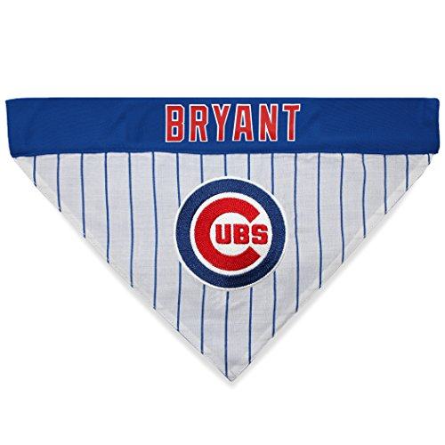 MLBPA Reversible Dog Bandana - Kris Bryant #17 Pet Bandana - MLB Chicago Cubs Home & Away Bandanna, Small/Medium ()