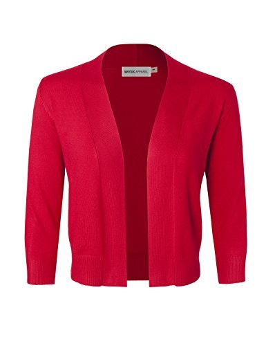 MAYSIX APPAREL Women's Knit Open Front 3/4 Sleeve Ribbed Cropped Shawl RED M ()