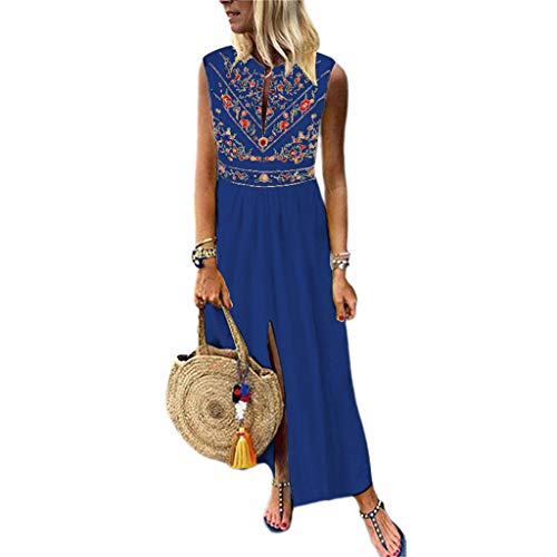 ASOBIMONO Women's Boho Floral Painted Long Dresses Deep V Neck Sleeveless Front Split Baggy Kaftan Maxi Dress Navy