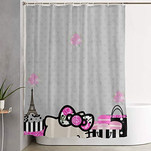 LIUYAN Shower Curtain with Hook - Hello Kitty in Paris Waterproof Polyester Fabric Bathroom Decor 60 X 72 Inches