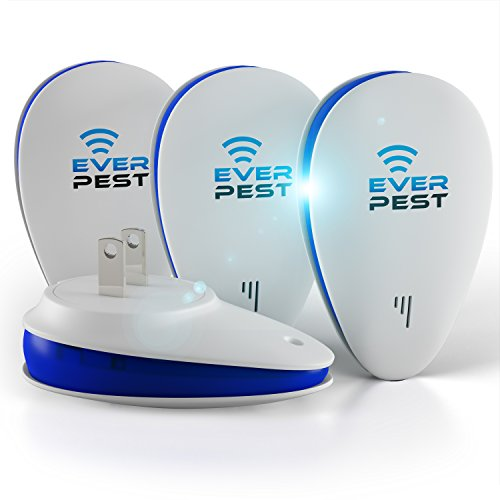 Ultrasonic Pest Repellent Plug Control by EverPest - Professional Home (4 Pack) Electronic Indoor Repeller - Repels Away Fleas, Bugs, Rodents, Roaches, Mice, Insect, Mosquitos, Ants, Spiders, Rats