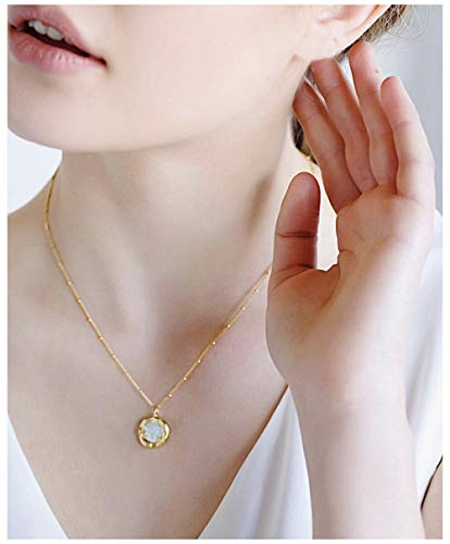 ACC PLANET Pearl Pendant Necklace 925 Sterling Silver Gold Plated Choker Station Chain Freshwater Pearl Pendant Delicate Gold Necklaces for Women