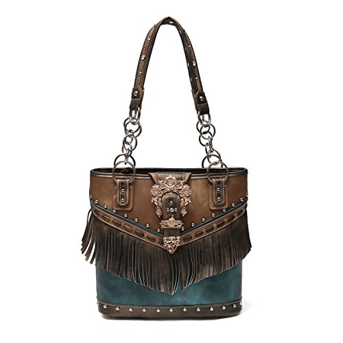 Western Handbag - Gold Buckle Stud Accented with front Fringe Décor Traditional Two-Toned Concealed Carry Tote Bag (Women's Western Outfits)