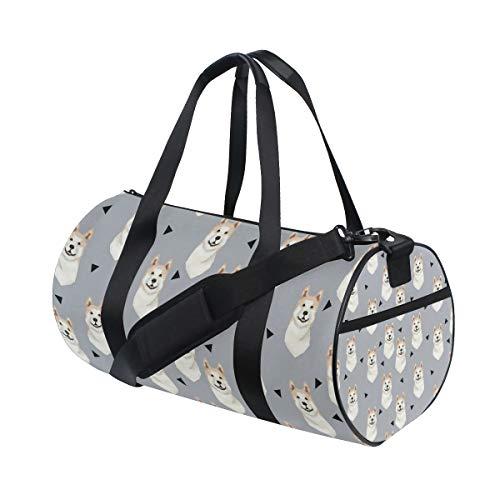 - Gym Duffel Bag Akita Dog Gray Training Duffle Bag BaLin Round Travel Sport Bags for Men Women