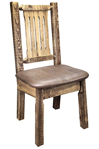 (Montana Woodworks MWHCKSCNSLSADD Homestead Collection Dining Side Chair, Stain & Clear Lacquer Finish with Upholstered Seat, Saddle Pattern)