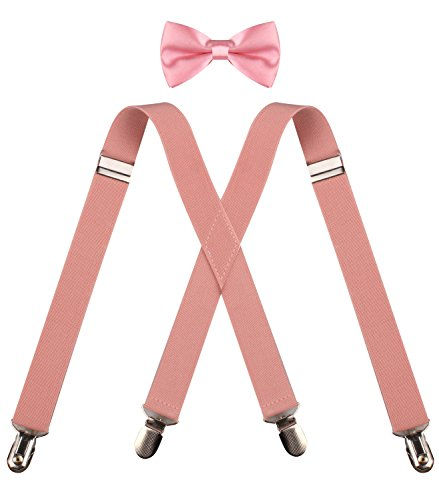 ORSKY cute peach bowtie and children suspenders set for wedding Peach - Peach Toddler Bow Tie