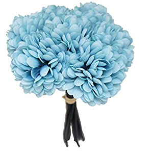 Lily Garden Silk Chrysanthemum Ball 7 Stems Flower Bouquet (Pale Turquoise) 26