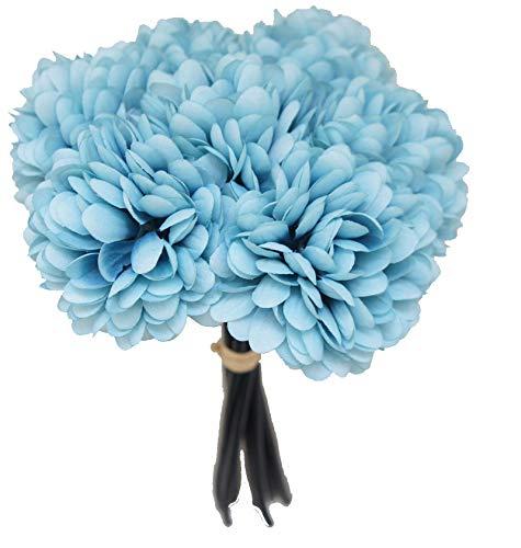 Lily Garden Silk Chrysanthemum Ball 7 Stems Flower Bouquet (Pale Turquoise)