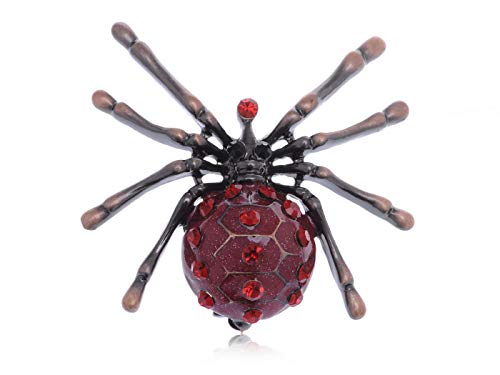 Chic Reproduce Ruby Crystal Rhinestone Enamel Finish Spider Insect Pin Brooch for ()
