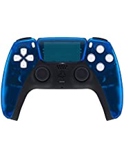 eXtremeRate Clear Blue Touchpad Front Housing Shell for PS5 Controller, DIY Replacement Shell for PS5 Controller, Custom Touch Pad Cover Faceplate for Playstation 5 Controller