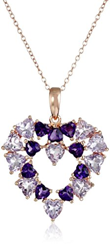 Rose Gold Plated Sterling Silver Brazilian Amethyst and African Amethyst Open Heart Pendant Necklace