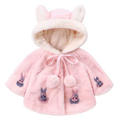 Baby Girls Fleece Cartoon Rabbit Ear Peacoat Cloak Winter Warm Thick Hooded Coat Size 3-6 Months/Tag70 (Light Pink)