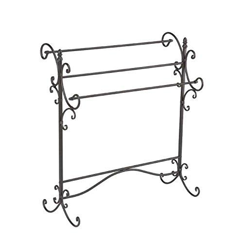 Iron Blanket / Quilt Rack Black W/ Bronze Rubthrough Bedroom Stand