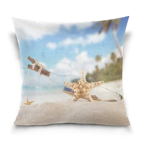 - TOGEFRIEND Summer Beach Strafish Shells Decorative Square Throw Pillow Covers Cases Home Décor Bed Sofa Couch Car 18 x 18 inch