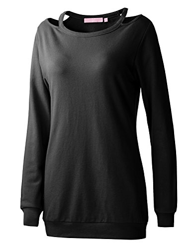 REGNA X Boho for woman's knitted knitted long tops black 3XL plus tall cutout neck pullover sweatshirts