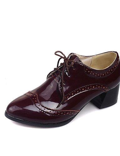 ZQ Zapatos de mujer - Tacón Robusto - Comfort / Puntiagudos - Oxfords - Oficina y Trabajo / Vestido / Casual - Semicuero -Negro / Blanco / , white-us10.5 / eu42 / uk8.5 / cn43 , white-us10.5 / eu42 / black-us9 / eu40 / uk7 / cn41