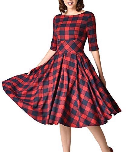 Women's 1950's Retro Plaid Tartan Tunic Puffy Dresses with Casual Side Pockets (Red, Small) ()