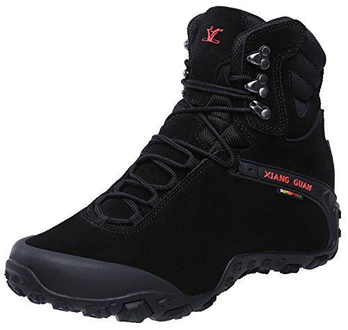 XIANG GUAN Men's Outdoor High-Top Waterproof Trekking Hiking Boots Black 10